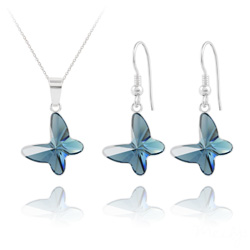Parure Papillon en Argent et Cristal Denim Blue