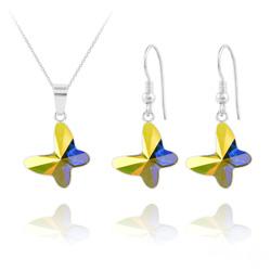 Parure Papillon en Argent et Cristal Aurore Boréale
