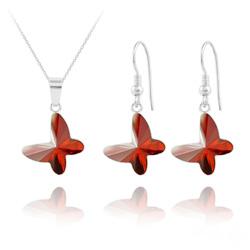 Parure Papillon en Argent et Cristal Red Magma