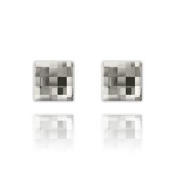 Clous d'Oreilles Chessboard 10MM en Argent et Cristal Black Diamond