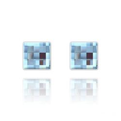 Clous d'Oreilles Chessboard 10MM en Argent et Cristal Bleu