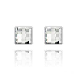 Clous d'Oreilles en Cristal et Argent Clous d'Oreilles Chessboard 10MM en Argent et Cristal Blanc