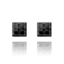 Clous d'Oreilles Chessboard 10MM en Argent et Cristal Jet (Noir)