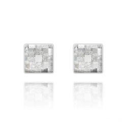 Clous d'Oreilles Chessboard 10MM en Argent et Cristal Silver Patina