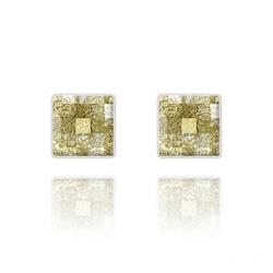 Clous d'Oreilles Chessboard 10MM en Argent et Cristal Gold Patina