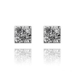 Clous d'Oreilles Chessboard 10MM en Argent et Cristal Black Patina