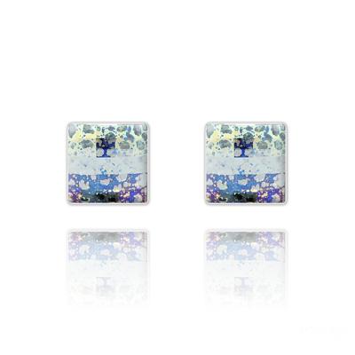 Clous d'Oreilles en Cristal et Argent Clous d'Oreilles Chessboard 10MM en Argent et Cristal White Patina