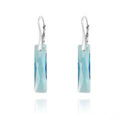 Boucles d'Oreilles Queen Baguette 25MM en Argent et Cristal Bleu
