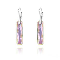 Boucles d'Oreilles Queen Baguette 25MM en Argent et Cristal Paradise Shine