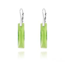 Boucles d'Oreilles Queen Baguette 25MM en Argent et Cristal Vert Péridot