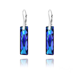 Boucles d'Oreilles Queen Baguette 25MM en Argent et Cristal Bleu Bermude