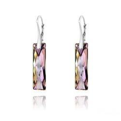 Boucles d'Oreilles Queen Baguette 25MM en Argent et Cristal Vitrail Light