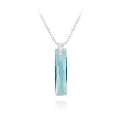 Collier Queen Baguette 25MM en Argent et Cristal Bleu