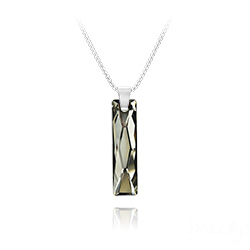 Collier Queen Baguette 25MM en Argent et Cristal Silver Night