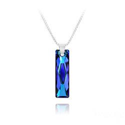 Collier Queen Baguette 25MM en Argent et Cristal Bleu Bermude