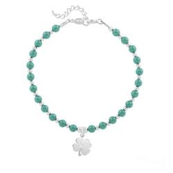 Bracelet Trèfle 4 Feuilles en Argent et Perle de Cristal Nacrée Jade