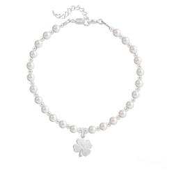 Bracelet Trèfle 4 Feuilles en Argent et Perle de Cristal Nacrée White Pearl