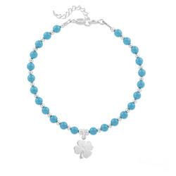 Bracelet Trèfle 4 Feuilles en Argent et Perle de Cristal Nacrée Turquoise
