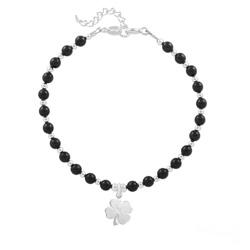 Bracelet Trèfle 4 Feuilles en Argent et Perle de Cristal Nacrée Mystic Black