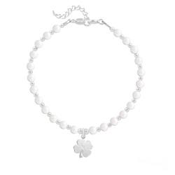 Bracelet Trèfle 4 Feuilles en Argent et Perle de Cristal Nacrée Ivory
