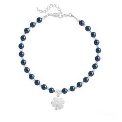 Bracelet Trèfle 4 Feuilles en Argent et Perle de Cristal Nacrée Tahitian Look