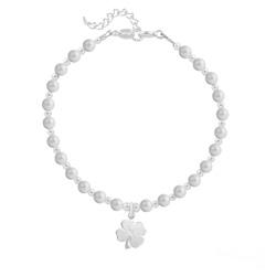 Bracelet Trèfle 4 Feuilles en Argent et Perle de Cristal Nacrée Pastel Grey