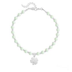 Bracelet Trèfle 4 Feuilles en Argent et Perle de Cristal Nacrée Pastel Green