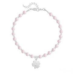 Bracelet Trèfle 4 Feuilles en Argent et Perle de Cristal Nacrée Pastel Rose