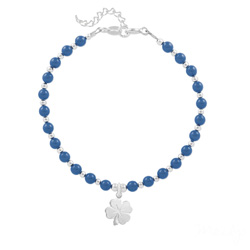 Bracelet Trèfle 4 Feuilles en Argent et Perle de Cristal Nacrée Lapis