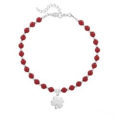Bracelet Trèfle 4 Feuilles en Argent et Perle de Cristal Nacrée Red Coral