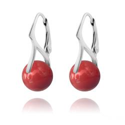 Boucles d'Oreilles Dormeuses en Argent et Perle de Cristal Nacré 10mm Red Coral