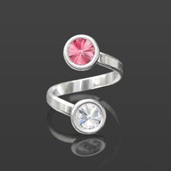 Bague en Cristal et Argent Bague 2 Rivoli 6mm en Argent et Cristal Blanc / Rose