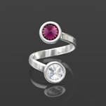 Wholesale Rivoli 6mm Silver Ring with Swarovski Crystal  - Amethyst