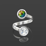 Wholesale Rivoli 6mm Silver Ring with Swarovski Crystal  - Vitrail Medium
