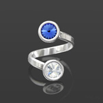 Wholesale Rivoli 6mm Silver Ring with Swarovski Crystal  - Sapphire