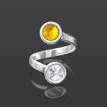 Wholesale Rivoli 6mm Silver Ring with Swarovski Crystal  - Sun Flower