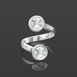 Wholesale Rivoli 6mm Silver Ring with Swarovski Crystal  - White