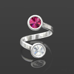 Wholesale Rivoli 6mm Silver Ring with Swarovski Crystal  - Fuchsia