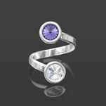 Wholesale Rivoli 6mm Silver Ring with Swarovski Crystal  - Tanzanite