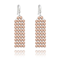 Boucles d'Oreilles en Cristal et Argent Boucles d'Oreilles Mesh 4 Rangs en Argent et Cristal Rose Gold