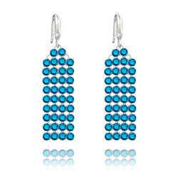 Boucles d'Oreilles Mesh 4 Rangs en Argent et Cristal Metallic Blue
