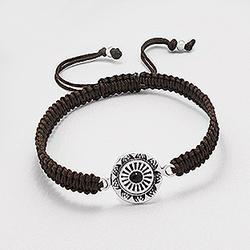 Bracelet en Argent Ethnique Marron