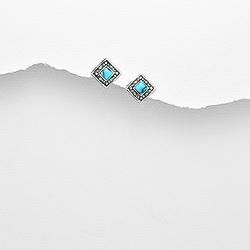 Clous d'Oreilles en Argent Carré 7mm - Turquoise