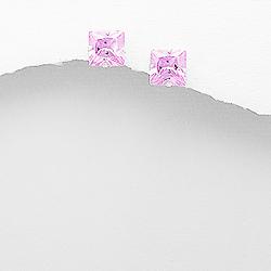 Clous d'Oreilles en Argent et Diamant CZ 8mm Rose
