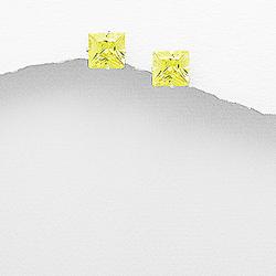 Clous d'Oreilles en Argent et Diamant CZ 8mm Jaune