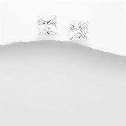 Clous d'Oreilles en Argent et Diamant CZ 8mm Blanc