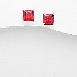 Clous d'Oreilles en Argent et Diamant CZ 8mm Rouge