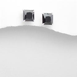 Clous d'Oreilles en Argent et Diamant CZ 8mm Noir