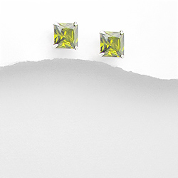 Clous d'Oreilles en Argent et Diamant CZ 8mm Vert