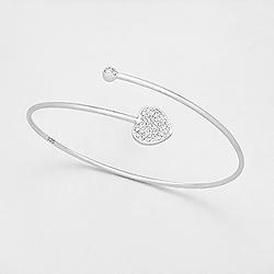 Bracelet Jonc en Argent et Diamant Cz